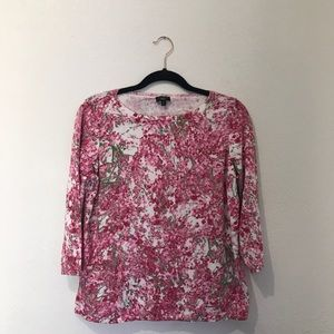 Talbots 3/4 sleeve floral pink crew neck sweater